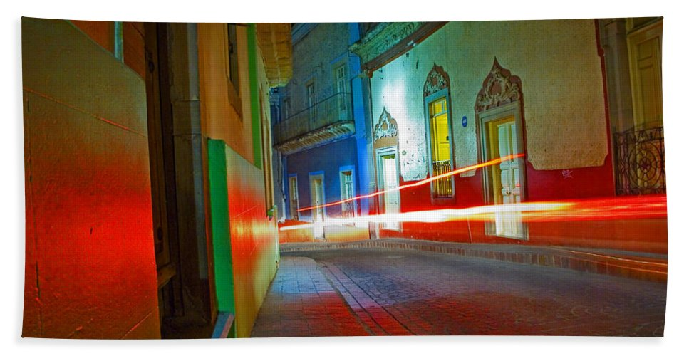 Shadow Bath Towel featuring the photograph Guanajuato Night by Skip Hunt