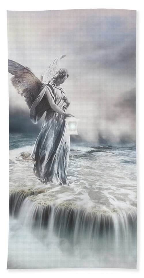 Angel Hand Towel featuring the mixed media Guardian Angel by Jacky Gerritsen