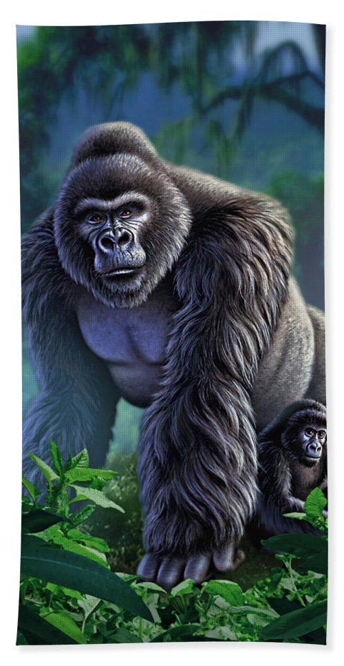 Gorilla Bath Towel featuring the painting Guardian by Jerry LoFaro