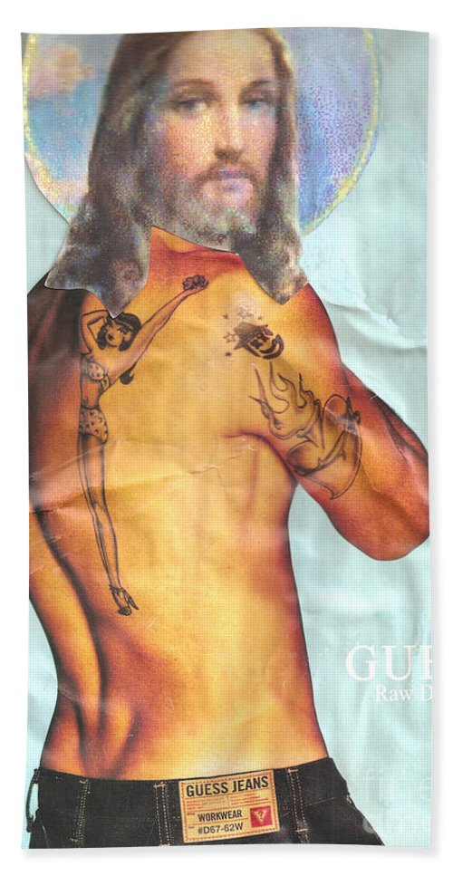 Jesus Bath Sheet featuring the mixed media Guess Jesus by Jaime Becker