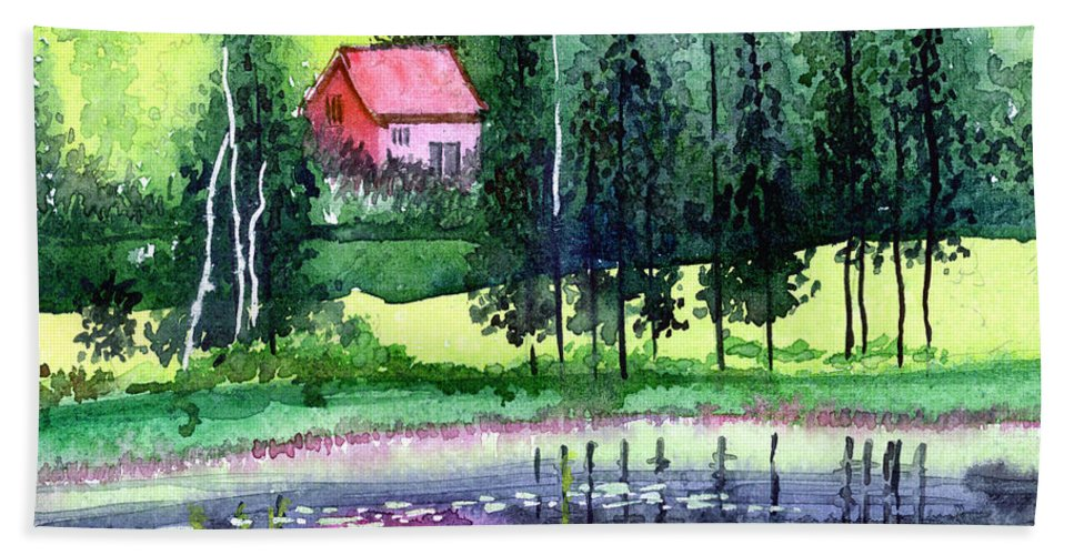Landscape Hand Towel featuring the painting Guest House by Anil Nene