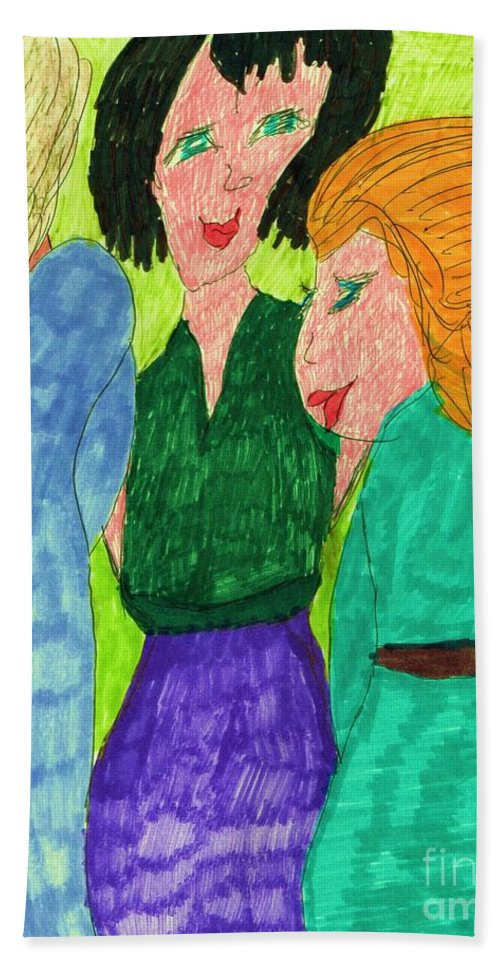3 Ladies Cool Colors. Bath Sheet featuring the mixed media Guests by Elinor Rakowski