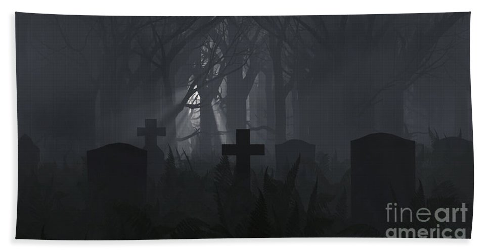 Death Hand Towel featuring the digital art Guiding Light by Richard Rizzo