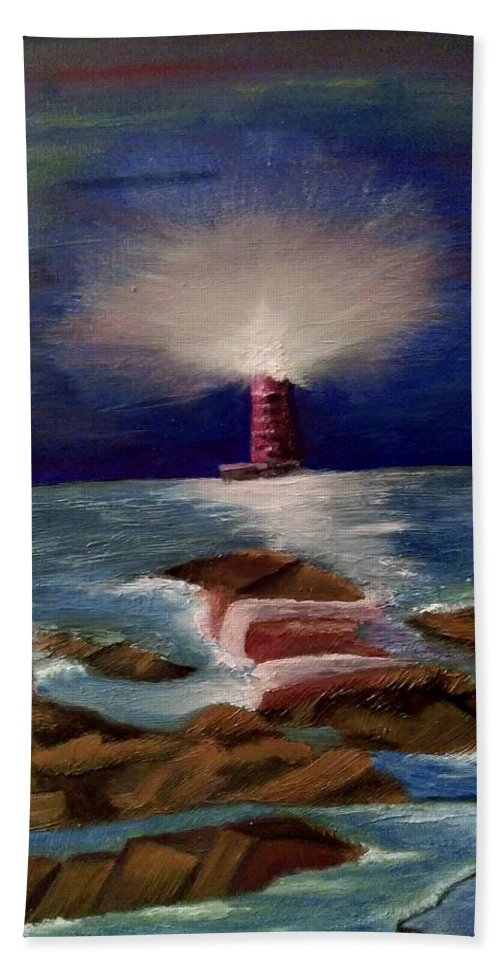Lighthouse Hand Towel featuring the painting Guiding Night Light by Denise Fletcher