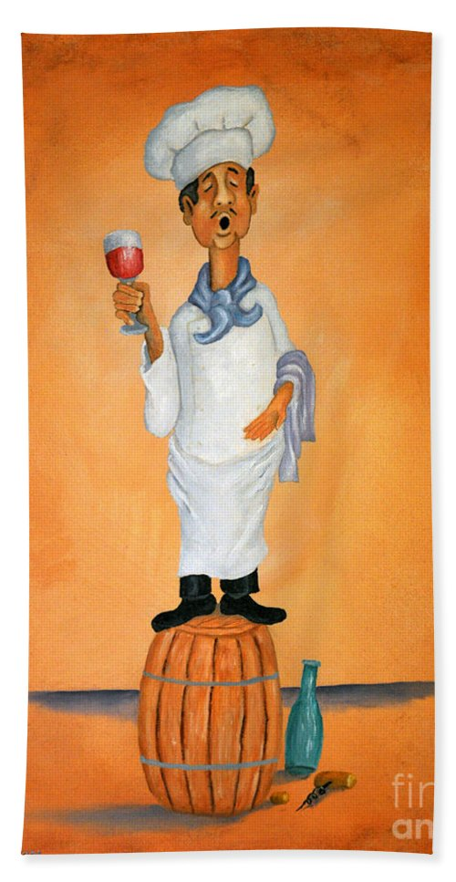 Singing Chef On A Barrel Drinking Red Wine Bath Sheet featuring the painting Guido Bessa Pucci by Barney Napolske