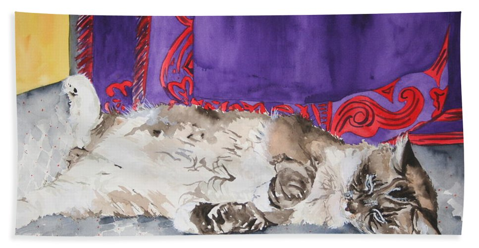 Cat Hand Towel featuring the painting Guilley by Jean Blackmer