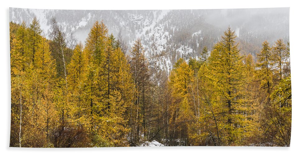 Autumn Landscape Hand Towel featuring the photograph Guisane Valley In Autumn - French Alps by Paul MAURICE
