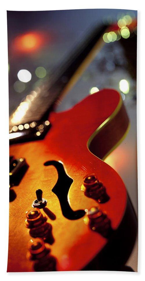 Guitar Bath Sheet featuring the photograph Guitar by Robert Ponzoni