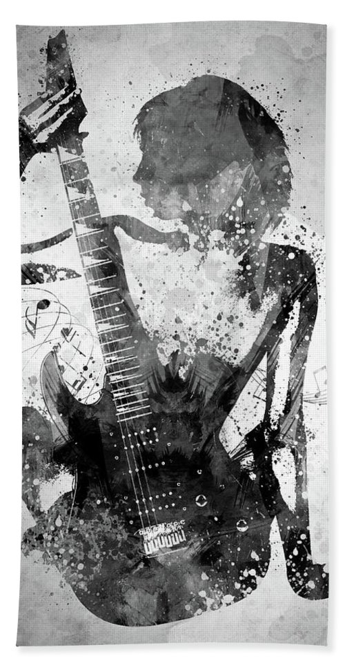 Guitar Hand Towel featuring the digital art Guitar Girl Black And White by Aged Pixel