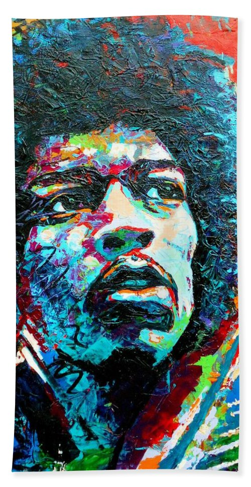 Bright Bath Sheet featuring the painting Guitar Legend by Angie Wright