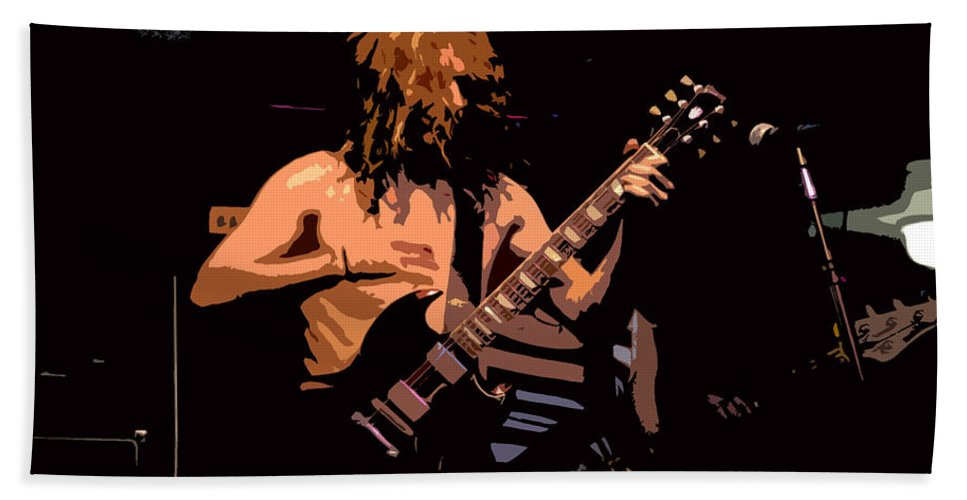 Music Hand Towel featuring the painting Guitar Player by David Lee Thompson