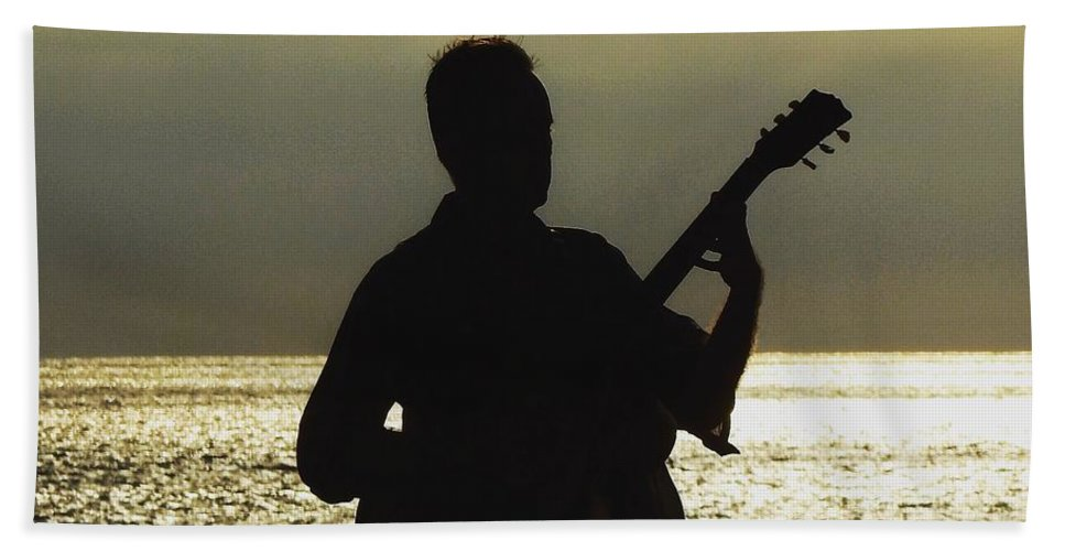 Guitar Hand Towel featuring the pyrography Guitar Silhouette by Greg Kear