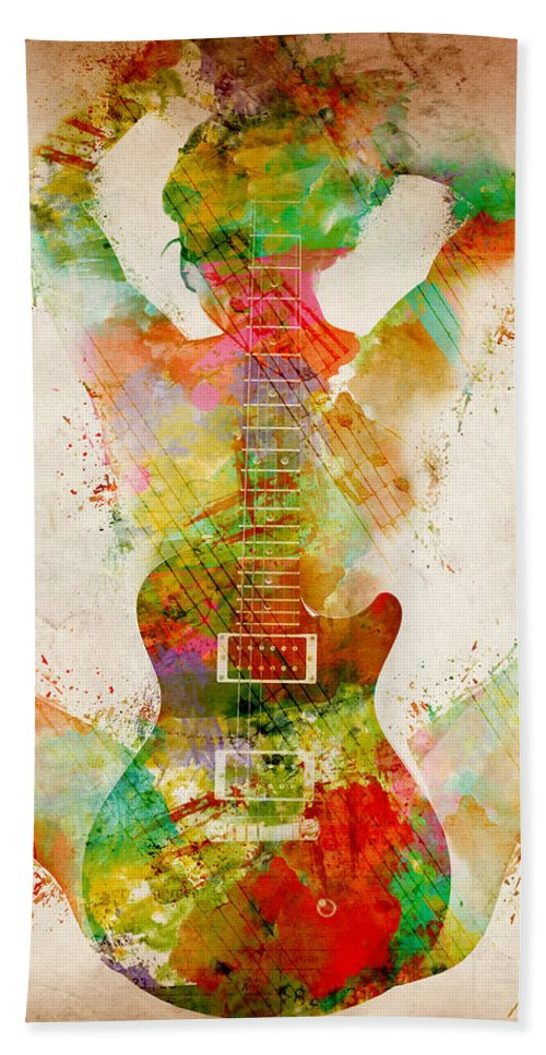 Guitar Bath Towel featuring the digital art Guitar Siren by Nikki Smith