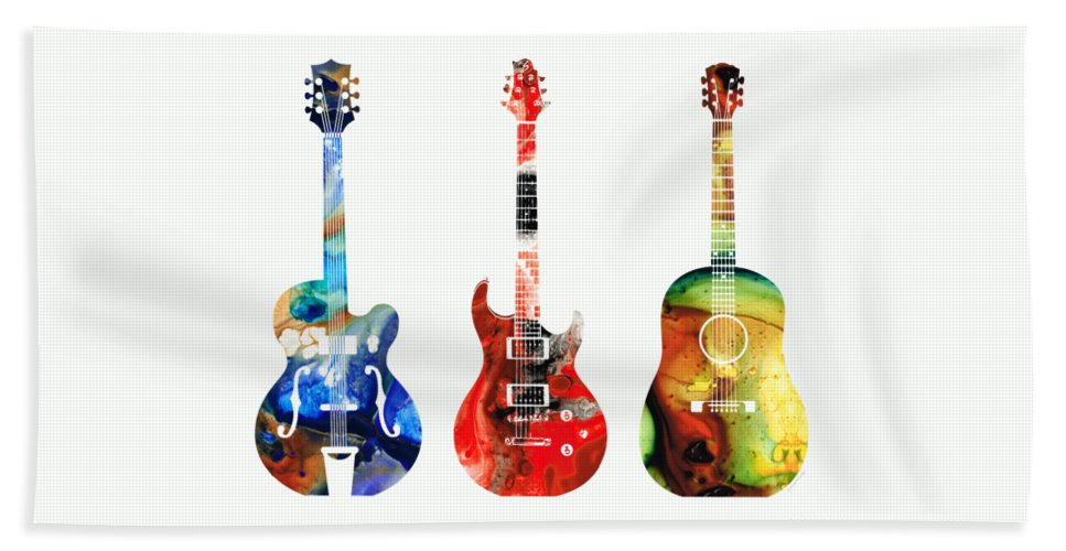 Guitar Bath Towel featuring the painting Guitar Threesome - Colorful Guitars By Sharon Cummings by Sharon Cummings