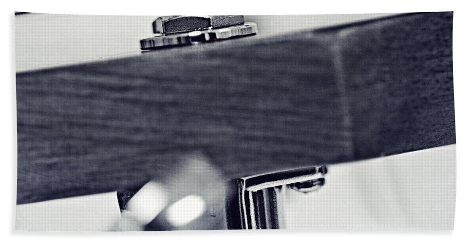 Black Bath Sheet featuring the photograph guitar V by Priska Wettstein