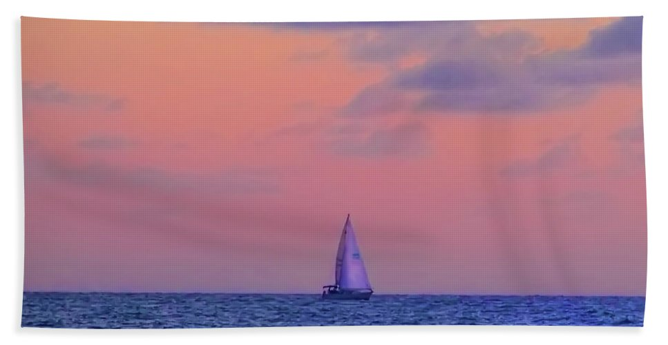Gulf Bath Sheet featuring the photograph Gulf Coast Sailboat by Bill Cannon