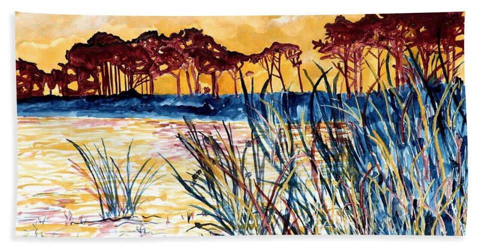 Gulf Coast Bath Towel featuring the painting Gulf coast seascape tropical art print by Derek Mccrea