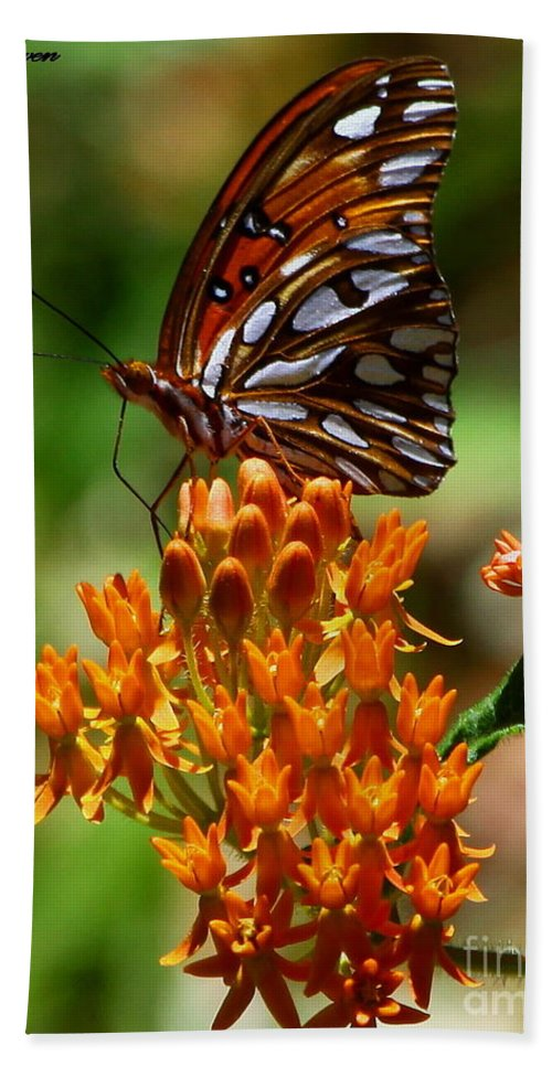Gulf Fritillary Hand Towel featuring the photograph Gulf Fritillary On Butterflyweed by Barbara Bowen