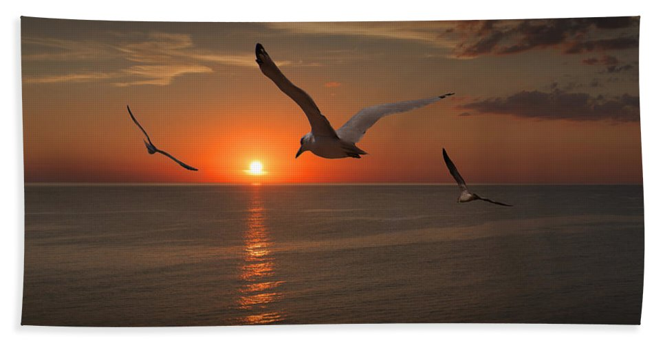 Gull Bath Sheet featuring the photograph Gulls Flying Towards The Sun by Randall Nyhof