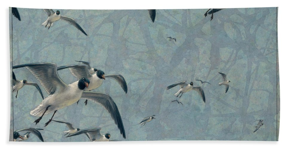 Gulls Hand Towel featuring the painting Gulls by James W Johnson
