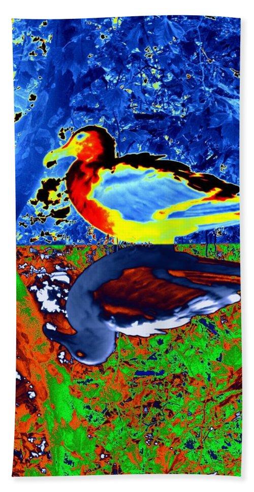 Seagull Hand Towel featuring the digital art Gulls by Tim Allen
