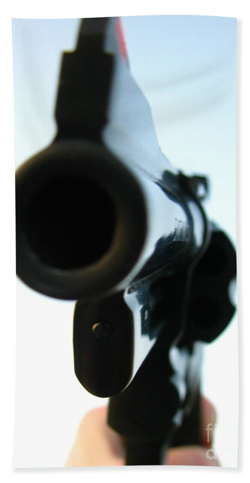 Guns Hand Towel featuring the photograph Gun by Amanda Barcon