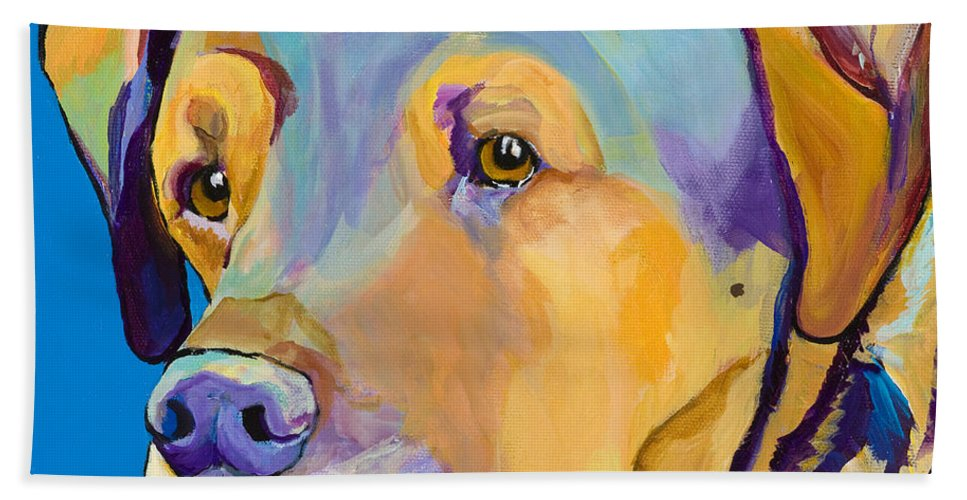 Dog Portrait Hand Towel featuring the painting Gunner by Pat Saunders-White