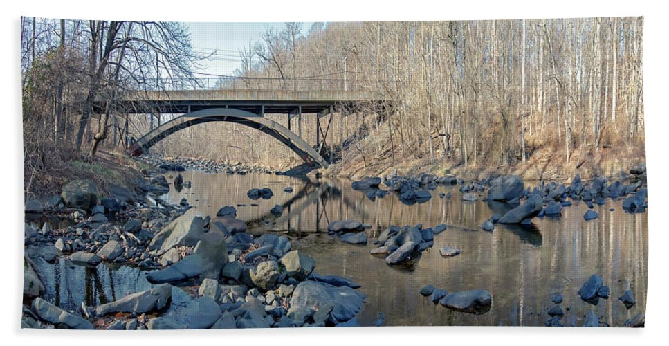2d Bath Sheet featuring the photograph Gunpowder Falls St Pk Bridge - Pano by Brian Wallace