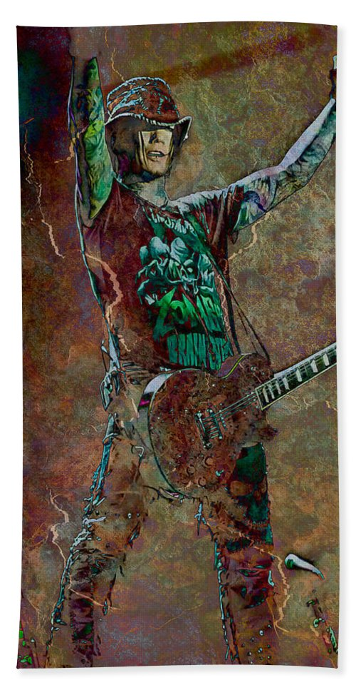 Loriental Hand Towel featuring the photograph Guns N' Roses Lead Guitarist Dj Ashba by Loriental Photography