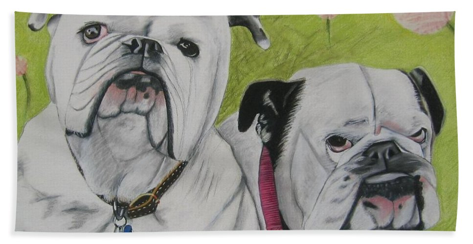 Dog Painting Bath Sheet featuring the pastel Gus And Olive by Michelle Hayden-Marsan