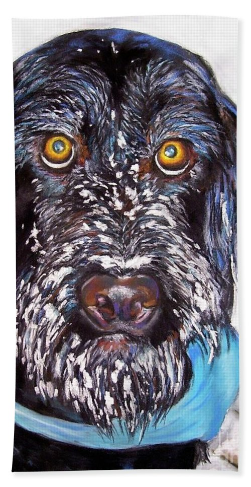 Dog Hand Towel featuring the painting Gus by Frances Marino