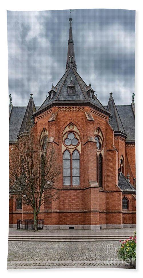 Southside Bath Sheet featuring the photograph Gustav Adolf Church Facade by Antony McAulay