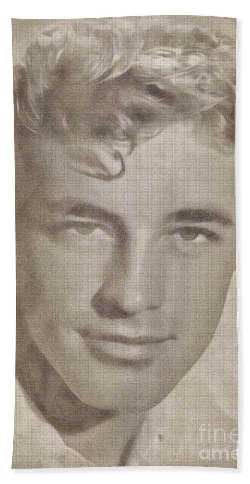Hollywood Bath Sheet featuring the drawing Guy Madison, Vintage Actor by John Springfield