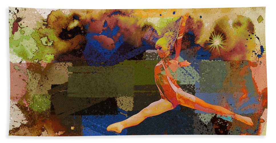 Athlete Hand Towel featuring the photograph Gymnast Girl by Jean Francois Gil