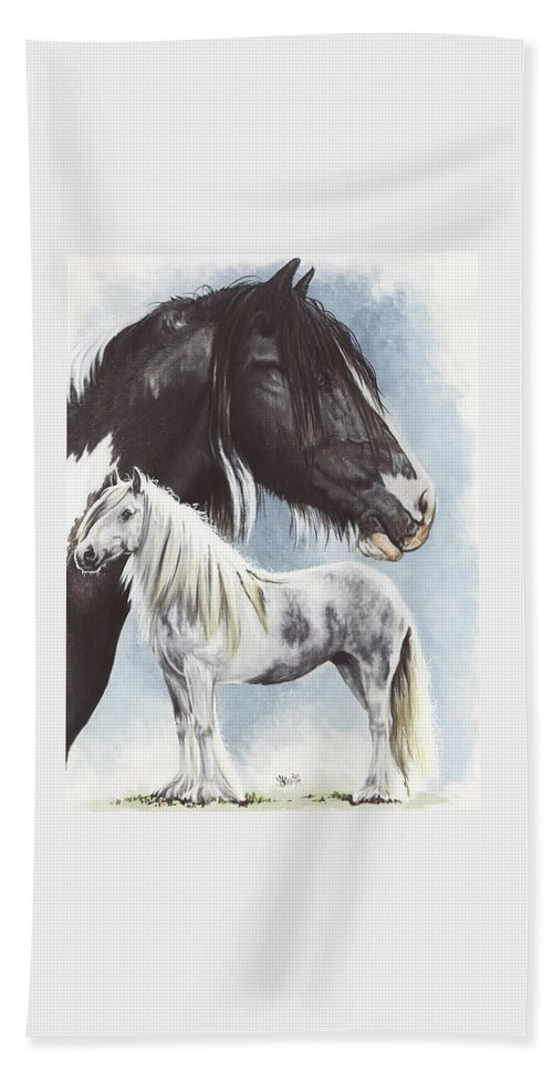 Equine Hand Towel featuring the mixed media Gypsy Cob by Barbara Keith