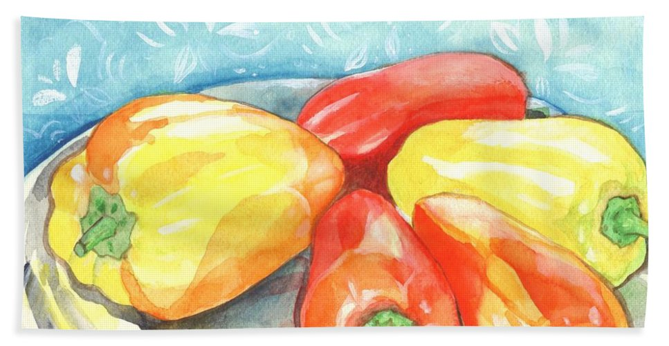 Gypsy Pepper Bath Towel featuring the painting Gypsy Peppers by Helena Tiainen