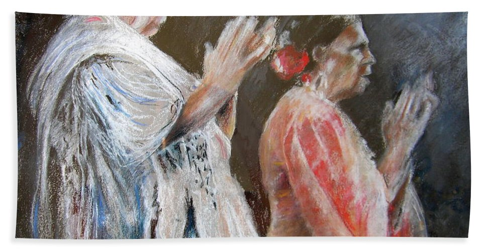 Flamenco Hand Towel featuring the painting Gypsy Women Performing Flamenco by Miki De Goodaboom