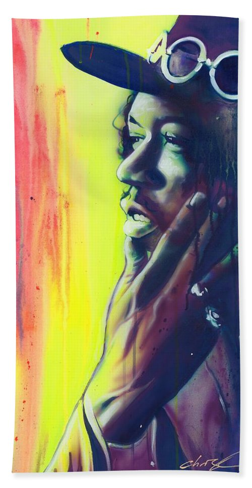 Jimi Hand Towel featuring the painting Gyspy Sun And Rainbows by Christian Chapman Art