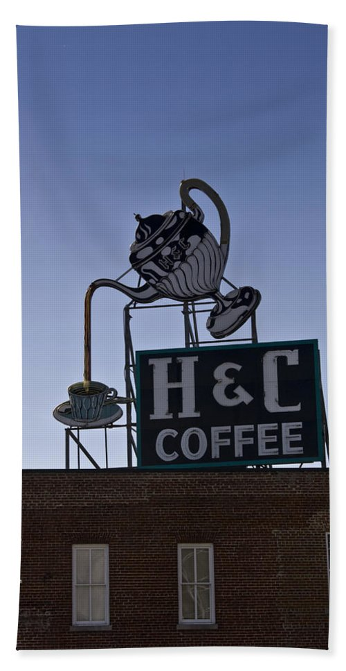 Neon Hand Towel featuring the photograph H And C Coffee Sign Roanoke Virginia by Teresa Mucha