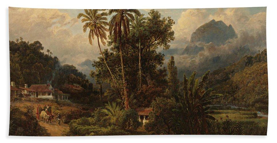 19th Century Art Hand Towel featuring the painting Hacienda De San Esteban De Puerto Cabello, Venezuela by Ferdinand Bellermann