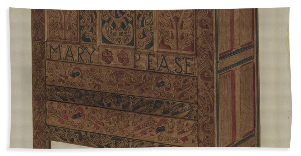 Hand Towel featuring the drawing Hadley Chest by Lawrence Foster