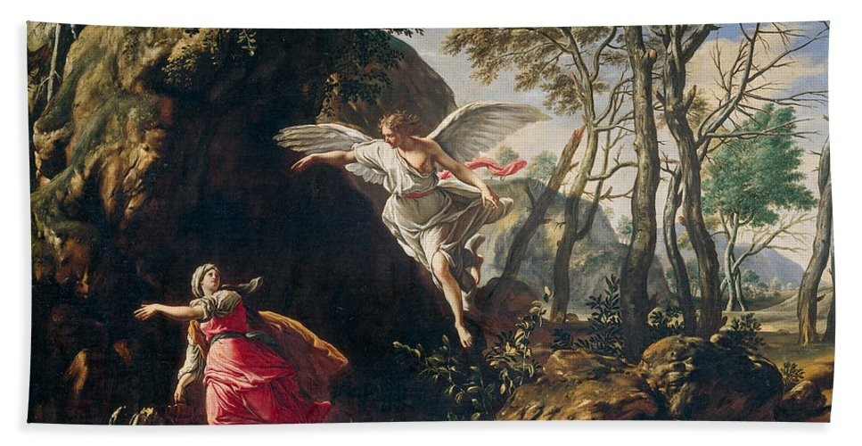 Francesco Cozza Bath Sheet featuring the painting Hagar And Ishmael In The Wilderness by Francesco Cozza