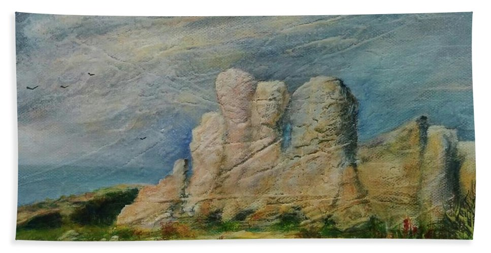 Hand Towel featuring the painting Hagar Qim Domination by Anthony Camilleri