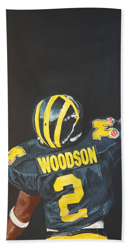 Heisman Hand Towel featuring the painting Hail Yes by Travis Day