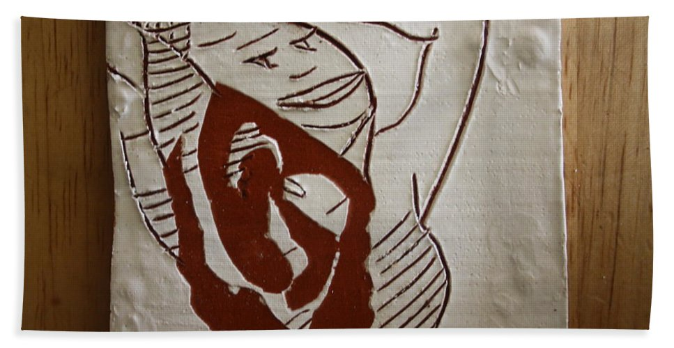 Jesus Bath Sheet featuring the ceramic art Hair Day - Tile by Gloria Ssali