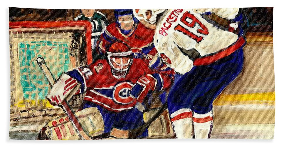Halak Blocks Backstrom In Stanley Cup Playoffs 2010 Hand Towel featuring the painting Halak Blocks Backstrom In Stanley Cup Playoffs 2010 by Carole Spandau