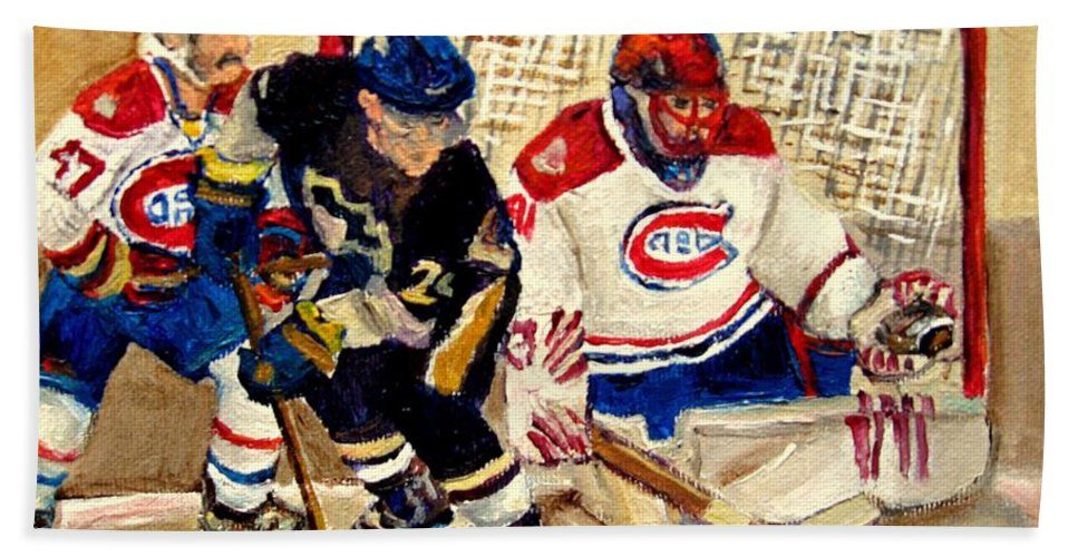 Hockey Hand Towel featuring the painting Halak Catches The Puck Stanley Cup Playoffs 2010 by Carole Spandau