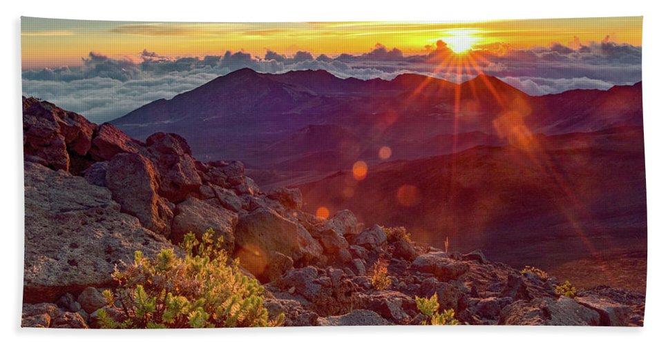 Haleakala Hand Towel featuring the photograph Haleakala Sunrise by Joy McAdams