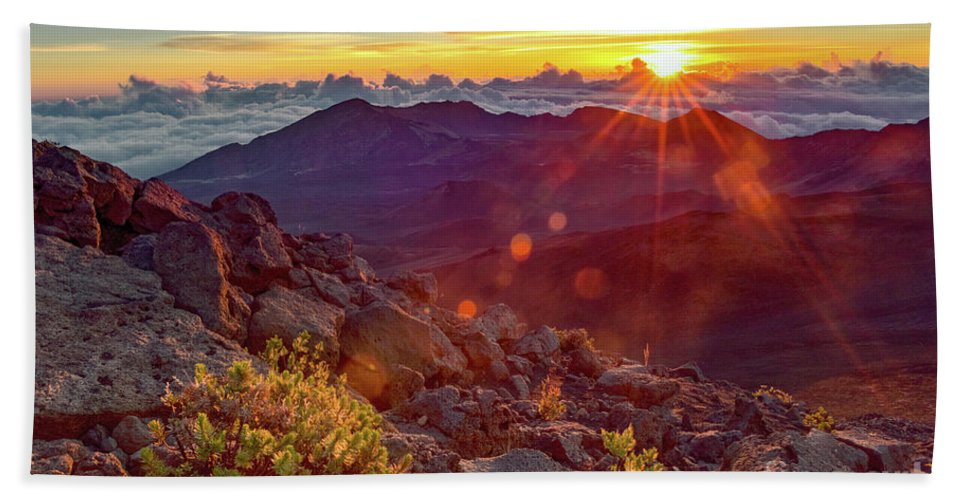 Haleakala Bath Sheet featuring the photograph Haleakala Sunrise by Joy McAdams