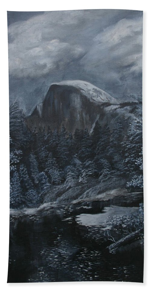 Yosemite Bath Sheet featuring the painting Half Dome Black And White by Travis Day